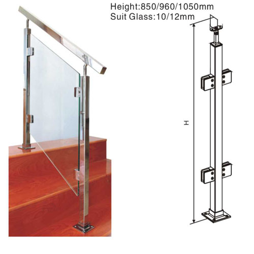Glass stair railing/clear glass stainless steel railing systems